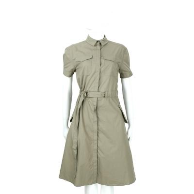 BURBERRY 格紋翻領細節設計軍裝短袖洋裝(軍綠色)