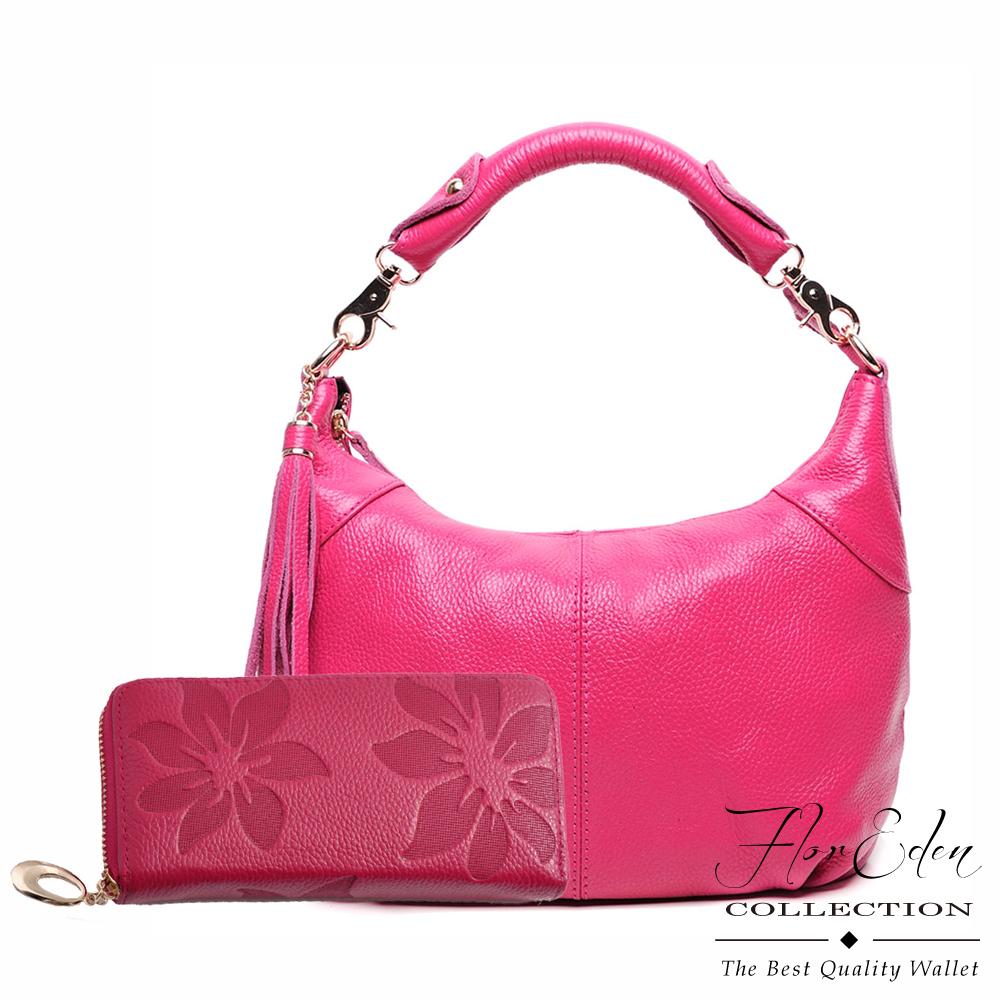 DF Flor Eden - 頭層牛皮手提兩用側肩包(桃)VS壓紋款單拉鍊長夾(玫紅)