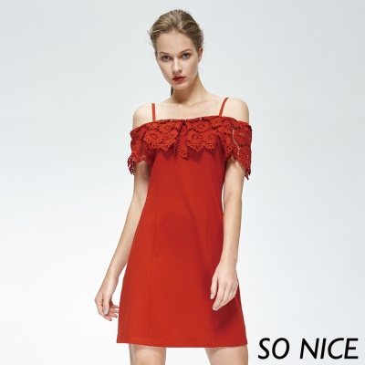 SO NICE亮麗紅蕾絲細肩帶洋裝