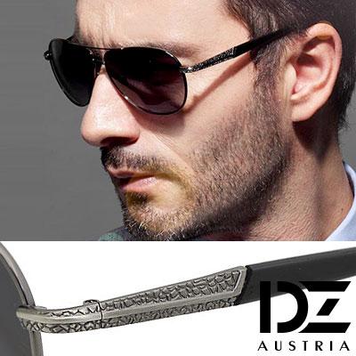 【2件59折】DZ 圓弧層石紋 抗UV 偏光太陽眼鏡墨鏡(槍框灰片)