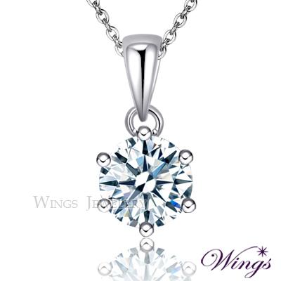 Wings 925純銀 經典六爪鑲 八心八箭一克拉單顆美鑽完美方晶鋯石項鍊