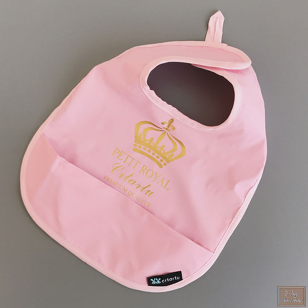 Baby unicorn 粉紅皇冠造型圍兜口水巾