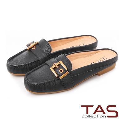 TAS 金屬扣帶荔枝牛皮莫卡辛穆勒鞋~實搭黑