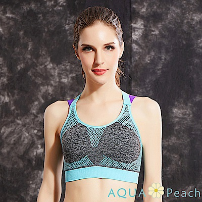 運動內衣 網格印花撞色X型美背內衣 (共三色)-AQUA Peach
