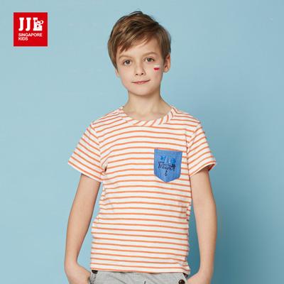 JJLKIDS 夏日海洋風條紋上衣(海棠橙)