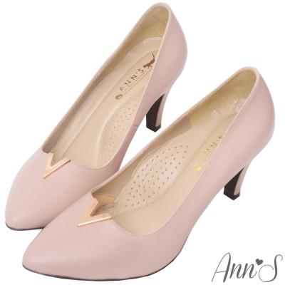 Ann'S職人端莊-頂級小羊皮金屬V口尖頭高跟鞋-粉