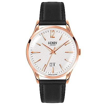 Henry London 英式簡約真皮手錶-白X玫瑰金框/41mm