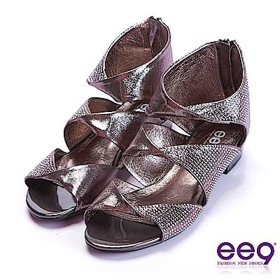 ee9 花漾年華鑲嵌水鏤空露趾粗跟涼鞋  鐵灰