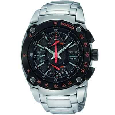 SEIKO Sportura 經典賽車計時碼錶復古腕錶(SPC039P1)-黑/46mm