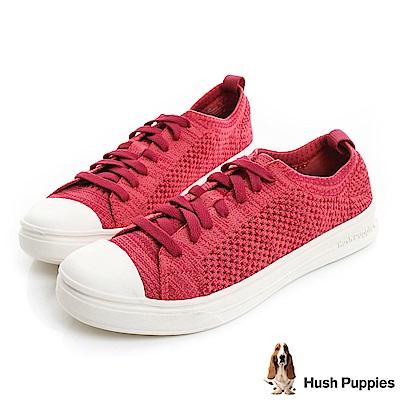 Hush Puppies 玩色針織輕量休閒鞋-桃紅