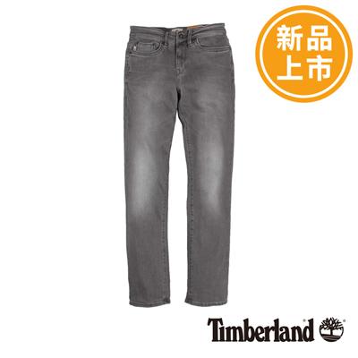 Timberland-男款灰色素面窄管彈性牛仔長褲
