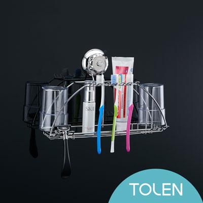 Tolen陶然居-強力無痕吸盤掛勾-Vixo威扣-不鏽鋼多功能牙刷架