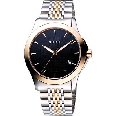 GUCCI G-Timeless 古馳菱格紋時尚腕錶-黑/半金/ 38 mm