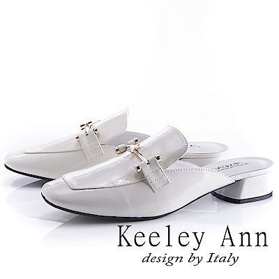 Keeley Ann 時尚潮流~金屬質感星星造型低跟穆勒鞋(白色-Asin系列)