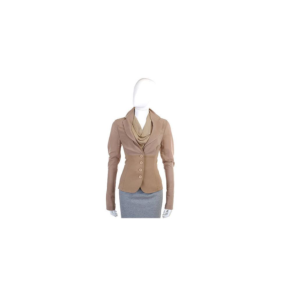 PAOLA FRANI 駝色材質拼接設計西裝外套