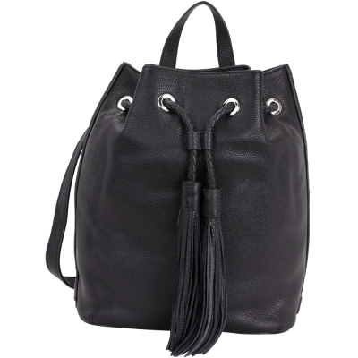 Rebecca Minkoff Isobel 編織抽繩流蘇皮革束口後背包(黑色)