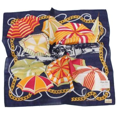 TRUSSARDI-艷陽夏日風情領帕巾-藍