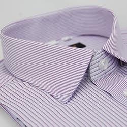 金‧安德森 紫色粗細條紋變化領窄版短袖襯衫