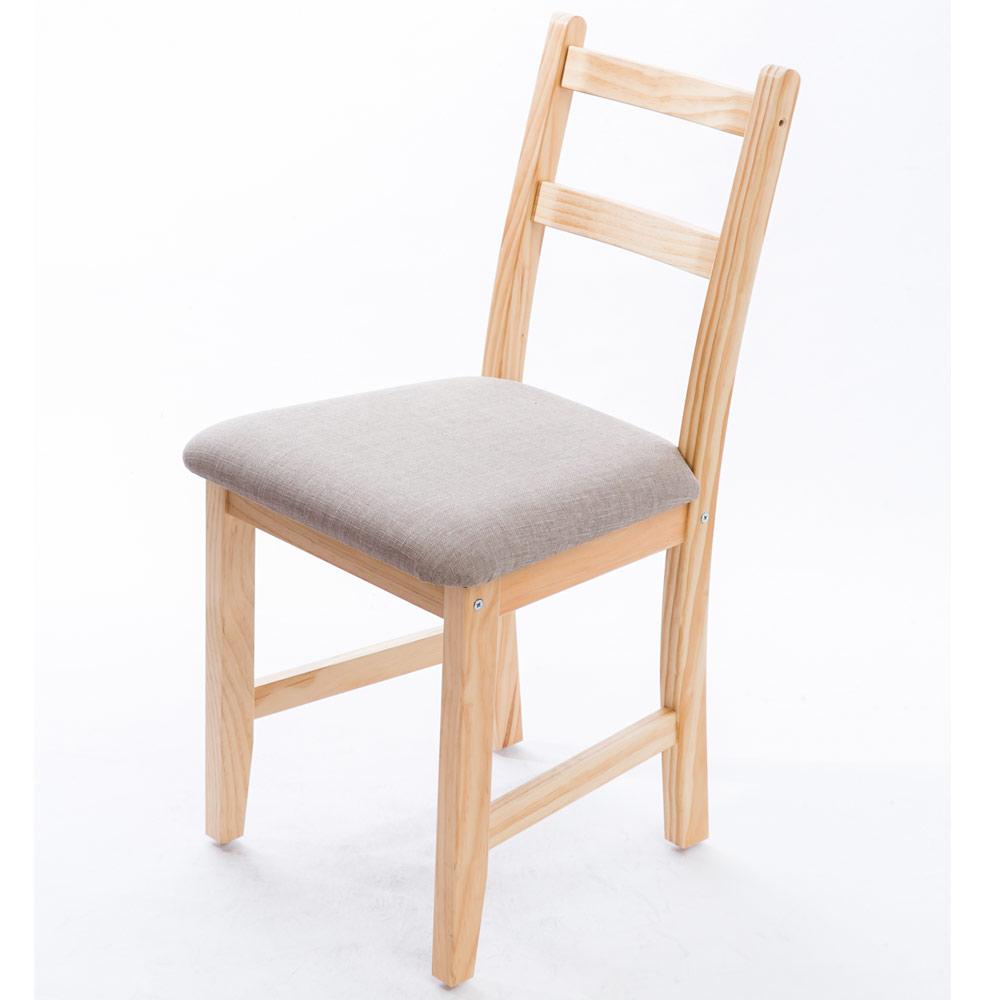 CiS自然行實木家具- 北歐實木書椅(扁柏自然色)淺灰色椅墊