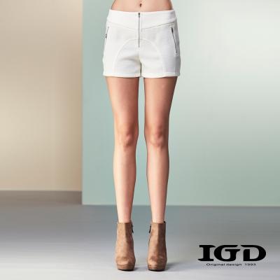 IGD英格麗-小網格弧剪雙拉鍊短褲-白色
