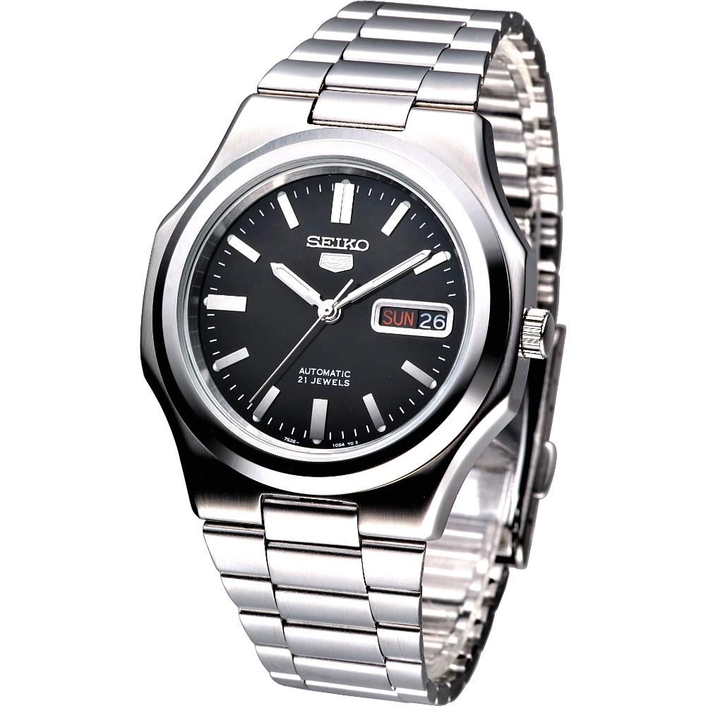 SEIKO 城市雅爵5號自動機械錶-黑/40mm