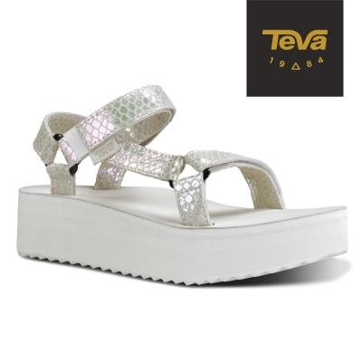 TEVA 美國-女 Flatform Universal 真皮厚底涼鞋 (蛇紋白)