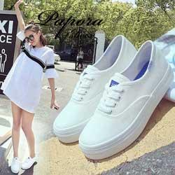 時尚經典不敗款休閒厚底帆布鞋