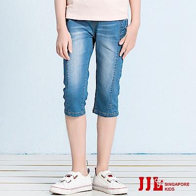 JJLKIDS 腰頭撞色刷白牛仔六分褲(牛仔藍)