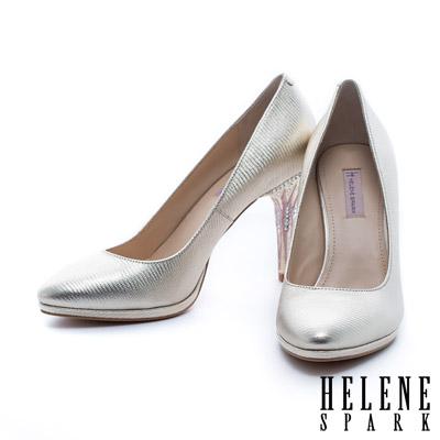 HELENE SPARK 滴油水鑽電鍍跟羊皮美型高跟鞋-金