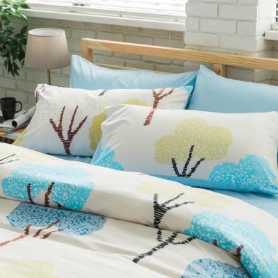 美夢元素 台製天鵝絨-枕套床包二件式-單人 (灌木)