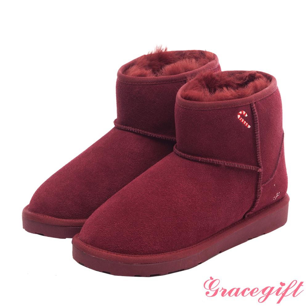 Disney collection by grace gift耶誕造型雪花電繡雪靴 紅