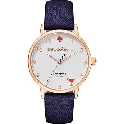 Kate Spade Merto 繽紛派對腕錶-玫瑰金框x紫/34mm