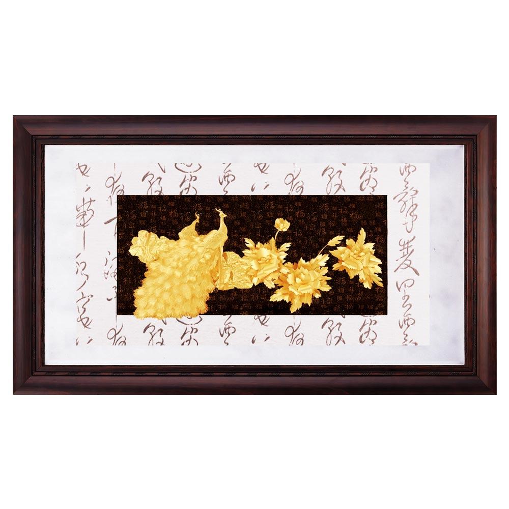 鹿港窯-禮品金箔畫-花開富貴(彩金系列48x82cm)