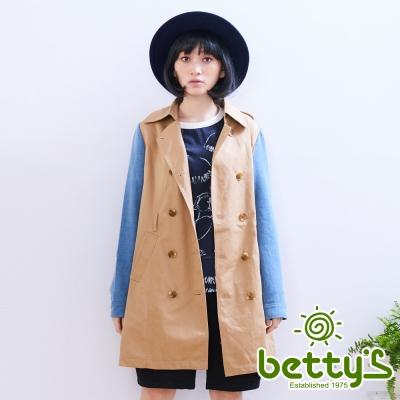 betty's貝蒂思 牛仔拼接風衣(棕色)