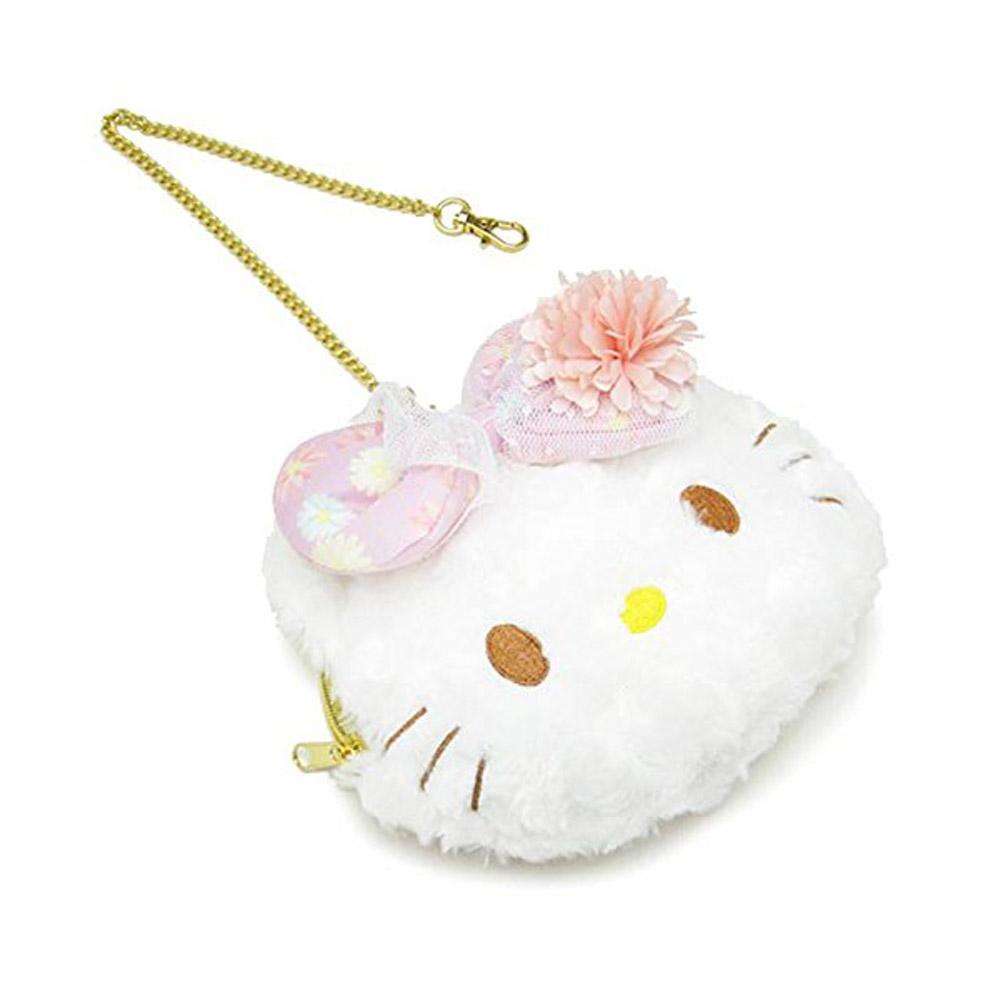 Sanrio HELLO KITTY玫瑰絨票夾零錢包附鍊春日小花