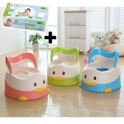 baby hood 淘氣鴨座便器+Nac Nac乾式嬰兒超柔細紗布毛巾*1盒