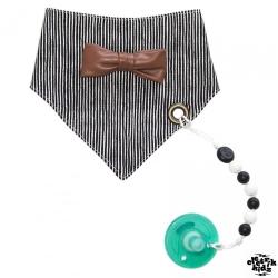 electrik kidz 加拿大 金屬扣三角領巾圍兜+奶嘴鍊2件組