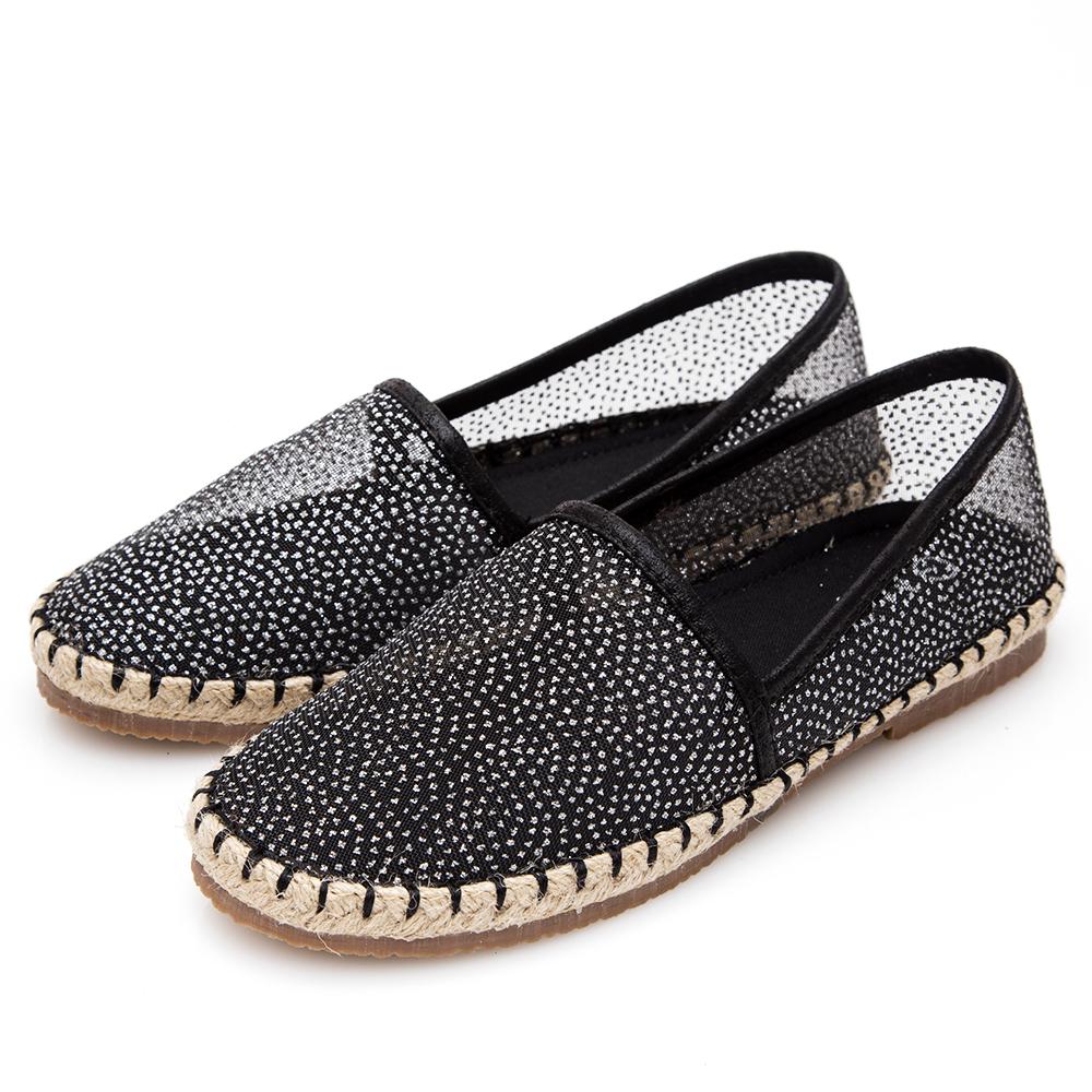 G.Ms. 金屬亮粉透膚懶人鞋-黑色