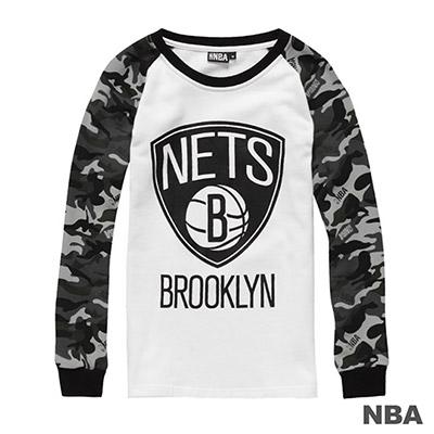 NBA-布魯克林籃網隊迷彩袖長袖厚T恤-白-女