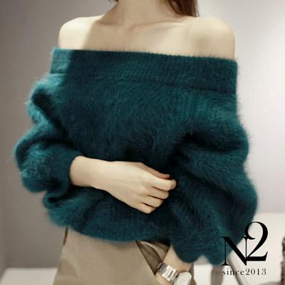上衣-性感氣質大一字領仿貂絨針織毛衣-孔雀藍-N2