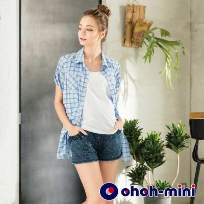 ohoh-mini 孕婦裝 獨特扎針設計褲口鬚邊單寧短褲-2色