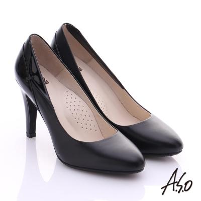 A.S.O 復古女伶 鏡面真皮側翻摺高跟鞋 黑