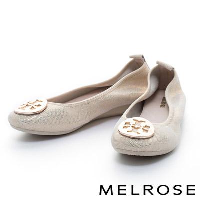 MELROSE-金屬十字圓型釦飾超軟Q全真皮厚底娃