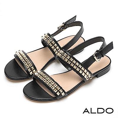 ALDO 原色寬版雙排方型鉚釘拉帶式粗跟涼鞋~尊爵黑色