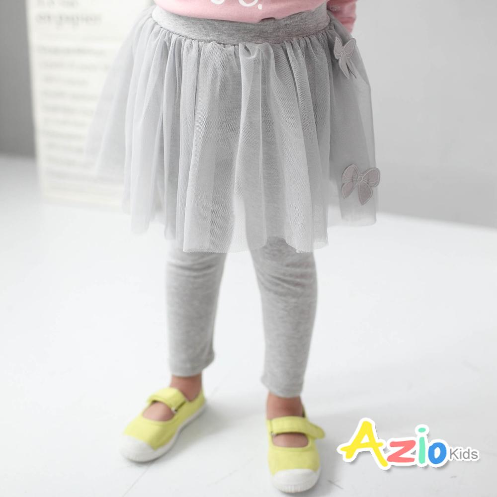 Azio Kids童裝-內搭褲裙雙蝴蝶結網紗棉質內搭褲裙灰