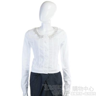 BLUGIRL-Folies 白色晶透寶石領邊外套