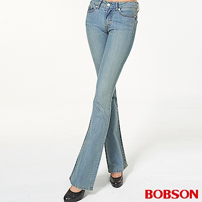 BOBSON 女款低腰伸縮復古藍中喇叭褲