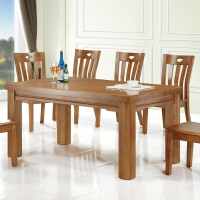 品家居 梅潔5尺實木餐桌椅組合(一桌四椅)-150x90x76cm-免組