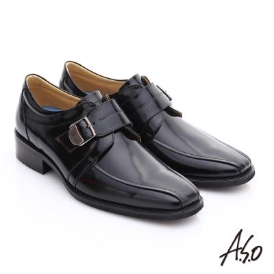 A.S.O 菁英通勤 鏡面牛皮魔鬼氈奈米皮鞋 黑色