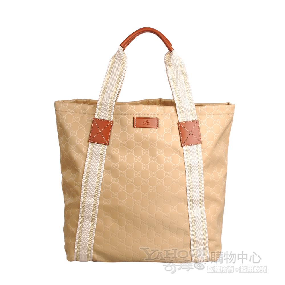 GUCCI 經典織帶系列造型緞布直立式購物包(米)